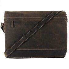 GREENBURRY Vintage Laptop Bag Umhängetasche Schultertasche Leder braun 1766B-25