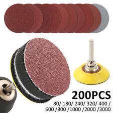 80-3000 Grits 50mm 200PCS Sanding Discs Pads Sander Hook Loop Sandpaper Tools