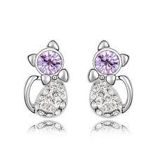 New Womens Crystal Rhinestone Lovely Cat Ear Stud Earrings Jewellery Hot Fashion