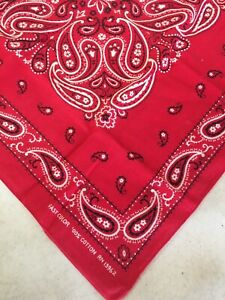 Vintage Fast Color Red Paisley 100 % Cotton Bandana Made In USA Western RN 13962