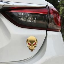 3D Metall Skull Totenkopf Logo Sticker Emblem Badge Aufkleber PKW KFZ Auto Gold