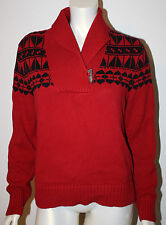 RALPH LAUREN Red Black Indian Blanket Knit Sweater Antler Toggle Womens L
