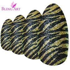 False Nails Gold Black Almond Stiletto Long Bling Art Fake Acrylic Tips 2g Glue