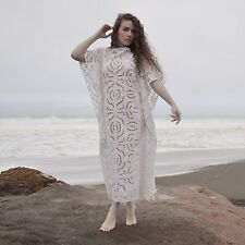 VTG 60s 70s Sheer CROCHET LACE Boho CAFTAN Maxi Beach Modest Wedding Gown DRESS