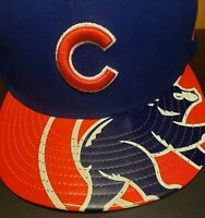 MLB Chicago Cubs Rare Logo Blue & Red New Era 59Fifty 7 3/8 Fitted Hat