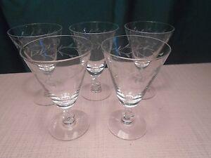 """Tiffin-Franciscan Baroque Juice Gray Cut (5) 1950-66  4 3/4"""""""