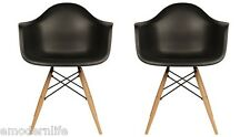 set of 2 DAW mid century modern dining arm chair black