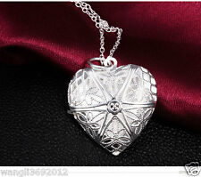 Vintage Charm Silver Love Heart Valentine Lover Locket Chain Necklace Pendant ZI