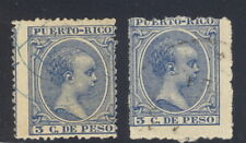 Puerto Rico, 1890's, two 3c stamps extremely off-center