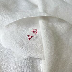 1800s French linen dish towel with tabs AD monogram hand kitchen towel farmhouse