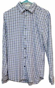 Men's Express Long Sleeve Button Down Shirt Blue Plaid Extra Slim Fit