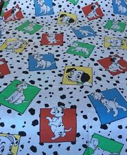 Disney Twin Flat Sheet 101 Dalmatians Dogs Puppies Spots  Fabric Crafting Dog