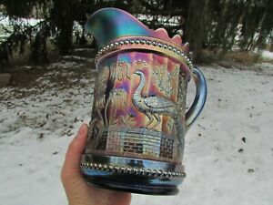Dugan PEACOCK AT THE FTN ANTIQUE CARNIVAL ART GLASS WATER PITCHER~BLUE~A DANDY!