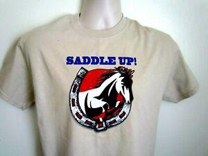NWOT Men's Sz M Beige T Shirt - Western,Horses,Horseshoe - Saddle Up!