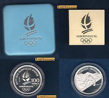 Coffret BE - 100 Francs Argent 1989 Skieur Alpin Descente JO Alberville 1992