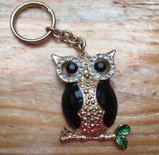 Enamel   Rhinestone Set Novelty Owl Keyring Metal Sparkly Key Ring Or Bag 79875045f