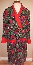 RETRO VICTORIA'S SECRET long floral robe housecoat shoulder pads multi color WOW