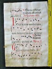Huge  Medieval Music Manuscript,Lf, Vellum,handpainted Initial c.1520,#133