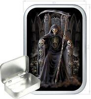 Grim Reaper Throne Gift Box,150ml Silver Hinged Tin, Tobacco Tin, Storage Tin