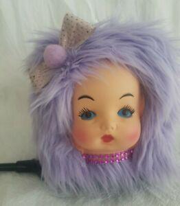 VINTAGE STYLE RETROS lavender KITSCH DOLL FACE HEAD HAIR BOX TISSUE COVER