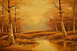 PHILLIP CANTRELL Original Vintage Signed Large River Lake Landscape Oil Painting