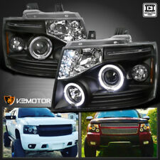 2007-2014 Chevy Tahoe Avalanche Suburban LED Halo Projector Headlights [Black]