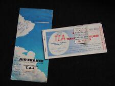 Ancien Billets d'avion TCA AIR CANADA AIR FRANCE 1962 voyage tickets