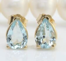 3.00 Carat Natural Blue Aquamarine in 14K Solid Yellow Gold Stud Earrings