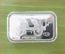 "RARE ! 1 oz .999 Switzerland Silver Bar"" WEBER 1902 ANTIQUE CAR COLLECTION"" C76"