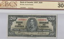 1937 20 Dollar Canadian Banknote- Coyne and Towers BCS Graded: 30 Very Fine