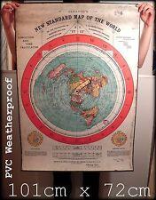 "40"" x 28"" FLAT EARTH GLEASON'S NEW STANDARD MAP OF WORLD 1892 (102x71xcm) PVC"
