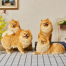 Pomeranian Figure Pet Dog Animal Family Model Artware Decor Collector Kids Toy