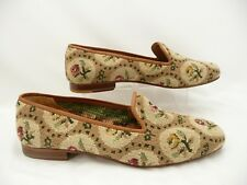 Stubbs and Wootton Needlepoint Floral Slippers Loafers Flats Shoes Sz 10.5
