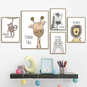 Giraffe Lion Animal Baby Hanging Wall Posters Canvas Art Nursery Decor Painting