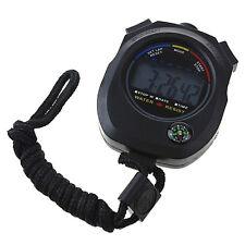 Digital quartz stopwatch compass handheld sport chronograph running watch timer