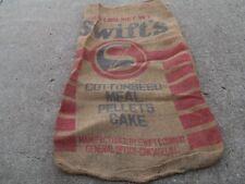Vintage Swift's Cottonseed Meal Pellets Cake  burlap Sack