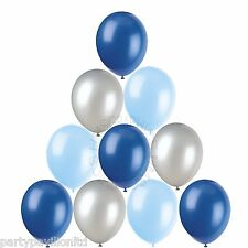 28 Silver Baby Royal Blue Helium Balloons Christening Birthday Party Decorations