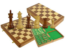 "Shishamwood Chess Set Regal Staunton 3.5"" +Folding Chess Board/Box 16""+ 2 Queens"