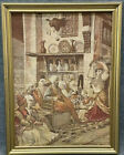 Antique Framed Belgium Tapestry of a Dance