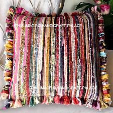 "16"" Chindi Rag Rug Decor Throw Stripe Boho Indian Cushion Sham Recycled Saris"