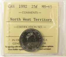 1992 Canada  25 cent  NW-Territory   grading by ICCS MS-65  coin