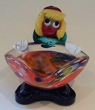 Murano orange black glass vintage Art Deco antique clown bowl figurine ornament
