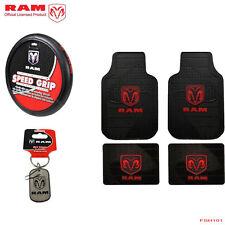 New 6pcs Dodge RAM Logo Car Truck Rubber Floor Mats Steering Wheel Cover