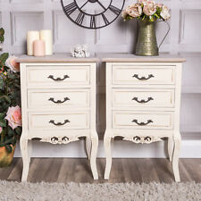 Pair Of Cream Bedside Tables Chest Of 3 Drawers Cabinet French Style Vintage