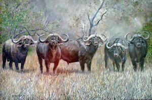 William John Jr 5 African Buffalo Bulls Standing Proud 24x36 Acrylic Painting