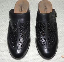WOMEN'S CLARKS BENDABLES BLACK LATTICE LEATHER MULES CLOGS 85671 6 M VERY NICE!