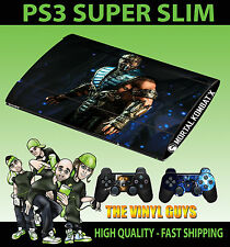 PLAYSTATION PS3 SUPER SLIM SUB ZERO MORTAL KOMBAT X SKIN STICKER & 2 PAD SKIN