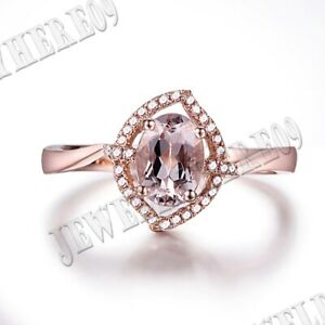 Oval 7x5mm Pink Morganite Halo Natural SI/H Diamonds Gemstone 18k Rose Gold Ring