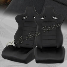 Black Woven Fabric Sports Style Fully Reclining Racing Seats+Sliders Universal