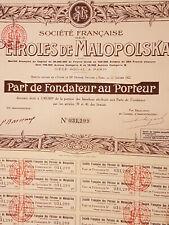 6 Actions et Part de fondateur Pétrole MALOPOLSKA et ESTANERA